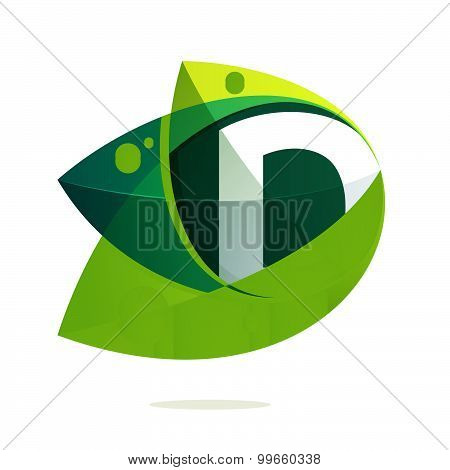 D Letter With Green Leaves And Dew Drops.