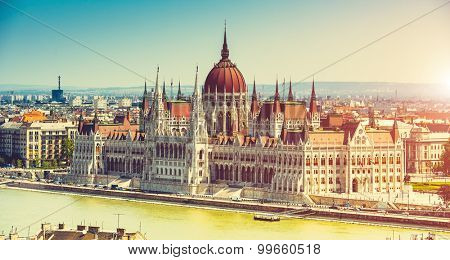 Hungarian Parliament view from fishermen Bastion in Budapest