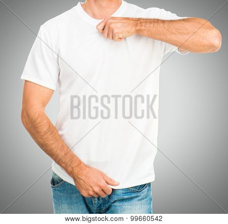 Man in a white T-shirt template on gray background