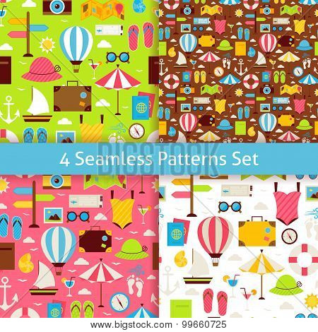 Four Vector Flat Summer Holidays And Travel Vacation Patterns Set