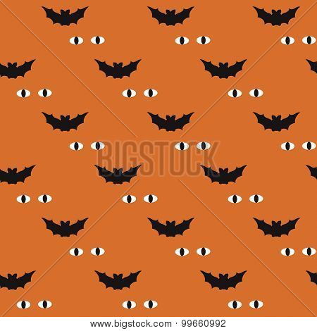 Seamless kids orange halloween bats and spooky mystery eyes in the night illustration background pattern in vector