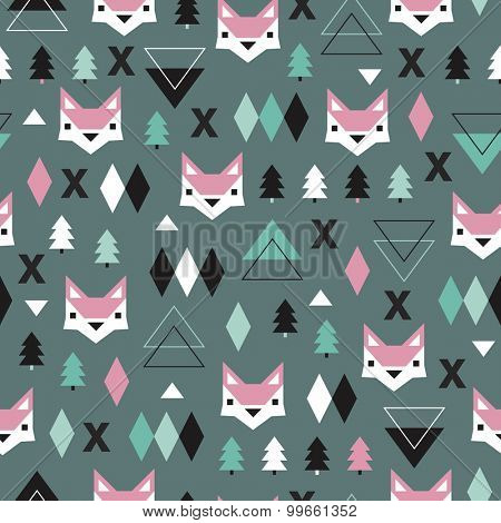 Seamless geometric green woodland holidays theme fox forest and triangle christmas tree background pattern in vector