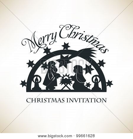 Simple Nativity scene. Christmas invitation