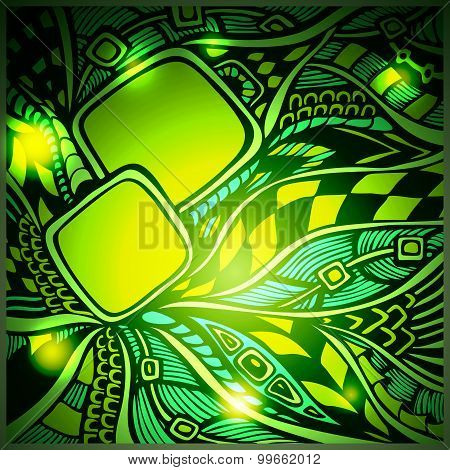 Blur Abstract doodle background with light in green colors