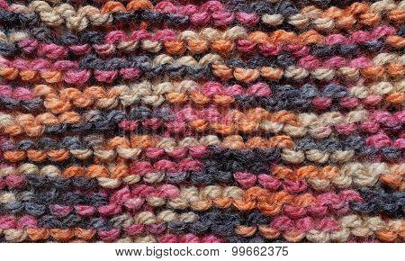 Close-up Of Garter Stitch In Multi-colored Wool