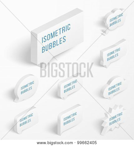 Set of white isometric bubbles with drop shadow