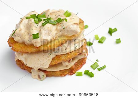 potato pancake with sauce