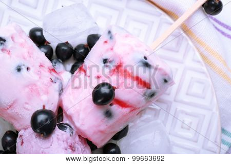 Sweet ice cream with black currants in white plate, closeup