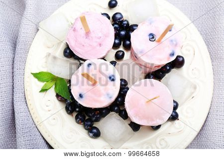 Sweet ice cream with black currants in white plate on grey napkin, closeup