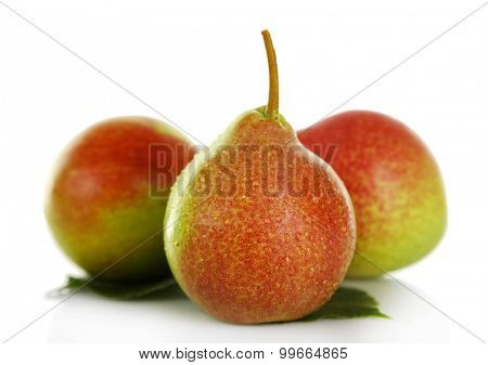 Ripe tasty pears isolated on white
