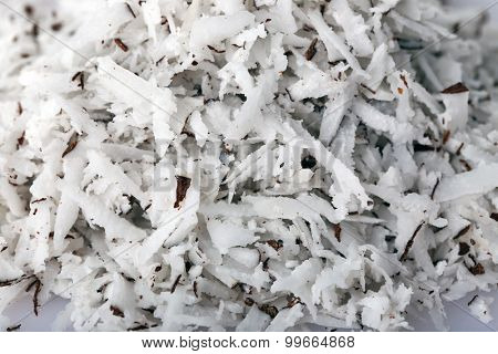 Texture of desiccated coconut