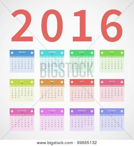Calendar annual 2016 in flat design