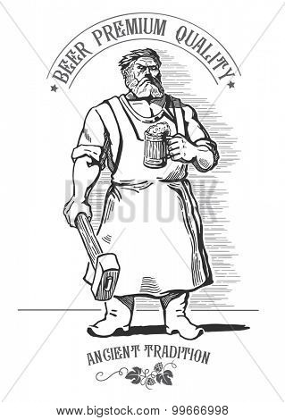 Blacksmith, holding a mug of beer.