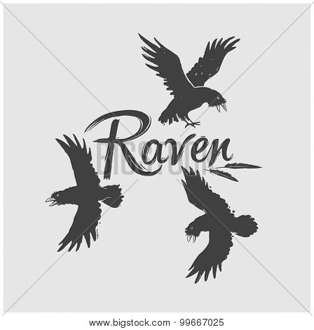 Flock of raven in flight with the inscription: