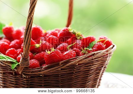 Fresh raspberries in wicker basket on wooden table on blurred nature background