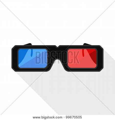 3D Glasses Flat Icon With Long Shadow On White Background