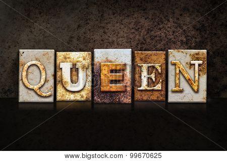 Queen Letterpress Concept On Dark Background