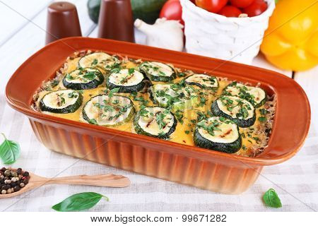 Casserole with vegetable mallow on table, closeup