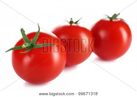 Cherry tomatoes isolated on white