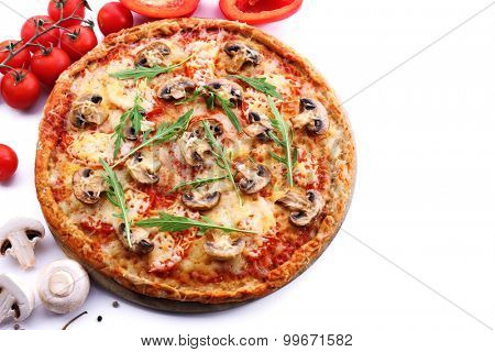 Tasty pizza with vegetables and arugula isolated on white