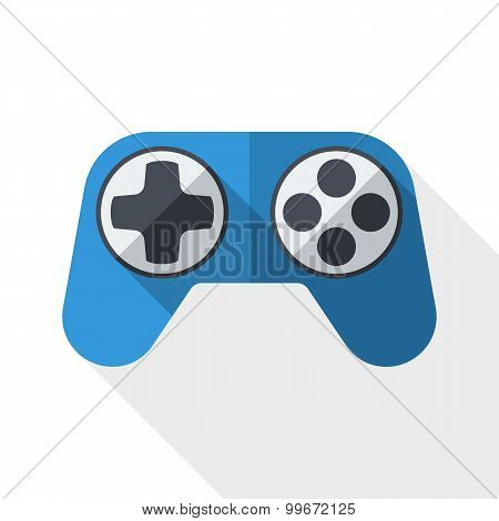 Gamepad Icon With Long Shadow On White Background