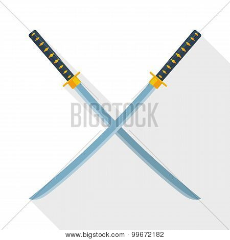 Katana Swords Icon With Long Shadow On White Background
