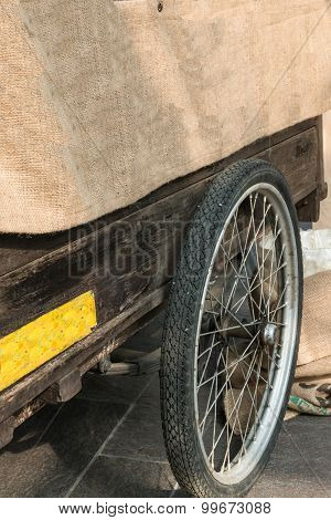 Hand-cart With Jute, Wooden Structure And Circle Wheel Tire