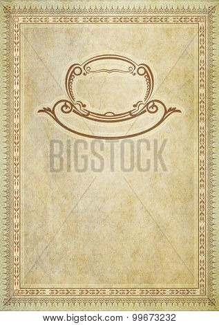Old Paper Backdrop With Old-fashioned Decorative Border.