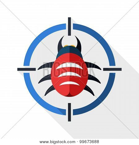 Bug Target Icon With Long Shadow On White Background