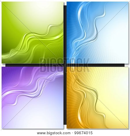 Set of abstract vector backgrounds with waves.