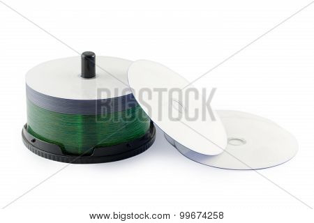 Compact Disc set isolated white background.