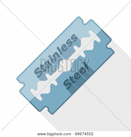 Razor Blade Icon With Long Shadow On White Background