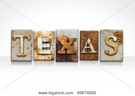 Texas Letterpress Concept Isolated On White