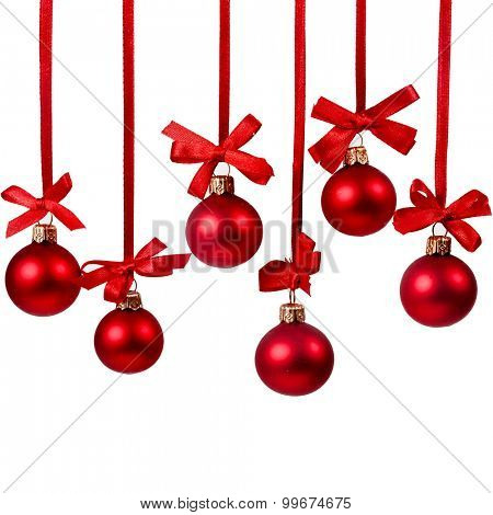 Christmas red balls over white background
