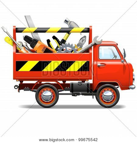 Vector Red Truck With Toolbox