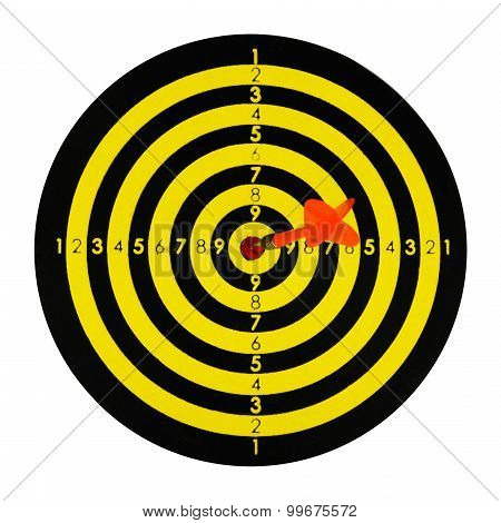 Dart Board With Dart Isolated On White Background