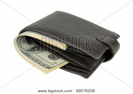 Purse With Moneys (dollars) Isolated On White Background