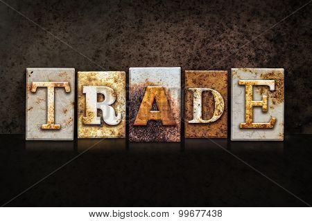 Trade Letterpress Concept On Dark Background