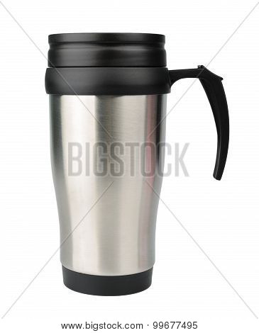 Aluminum Thermos Mug Isolated On White