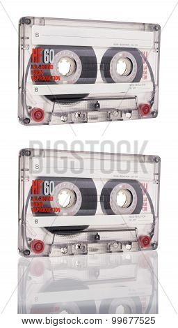 Cassette Tape Isolated On White Background. close up