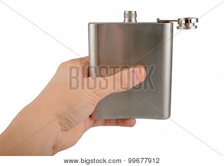 Male Hand Holding Stainless Hip Flask Isolated On A White Background
