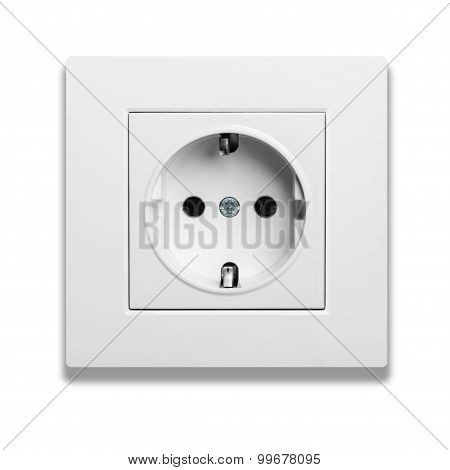 European Wall Outlet Isolated On White Background