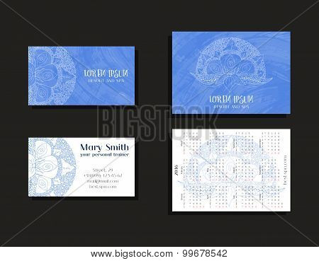 Corporate business cards and calendars 2016 for company, resort and spa.