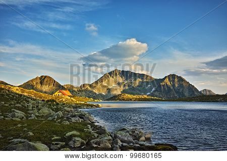 Sunset at Kamenitsa Peak And Tevno lake, Pirin Mountain