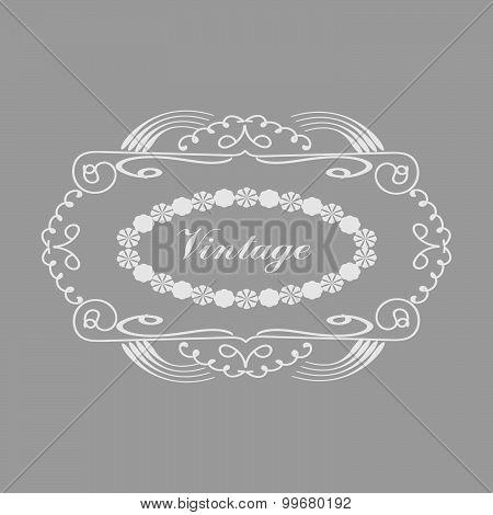 Handdrawn vintage Frame over the grey background