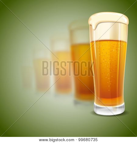 Excellent glass of lager beer with foam on blurred green background. Realistic vector.