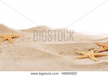 starfishes on sea sand isolated on white