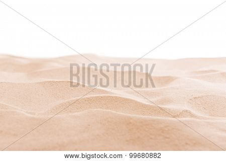 Sea sand background isolated on white