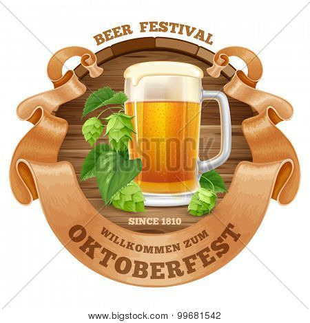 Retro styled emblem with beer mug, wooden barrel, twisted vintage ribbon and the text Beer festival Oktoberfest. Isolated on white background. Vector illustration.