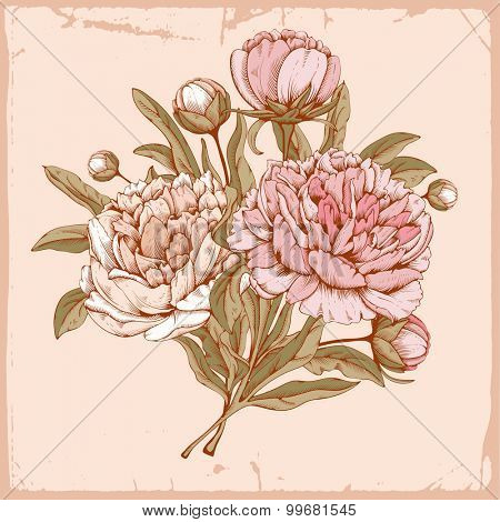 Vintage luxury card with detailed hand drawn flowers - bouquet of blooming peonies. Vector. Easy to edit.
